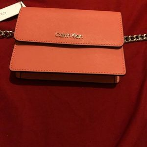 Calvin Klein peach/rose/mauve belted fanny pack